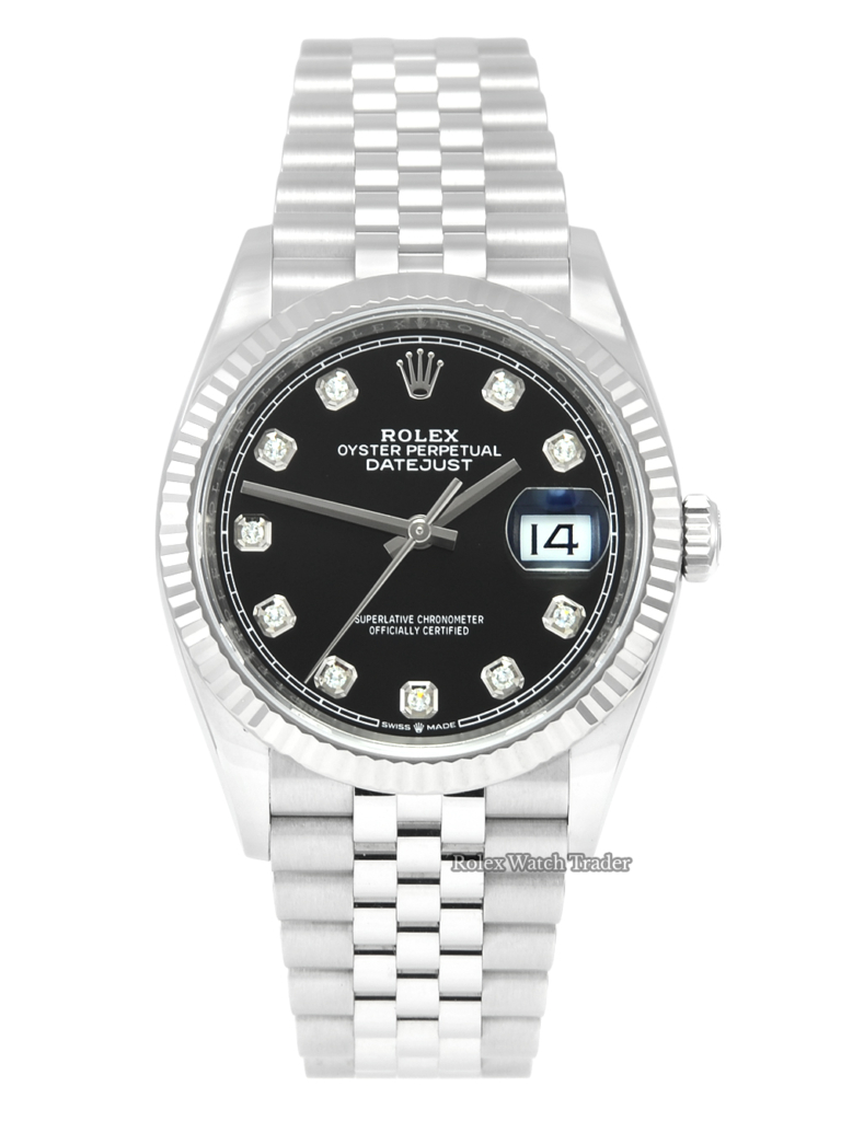 Rolex Datejust 36 126234 Stainless Steel Black Dial Jubilee Strap 2019 For Sale Available Purchase Buy Online with Part Exchange or Direct Sale Manchester North West England UK Great Britain Buy Today Free Next Day Delivery Warranty Luxury Watch Watches