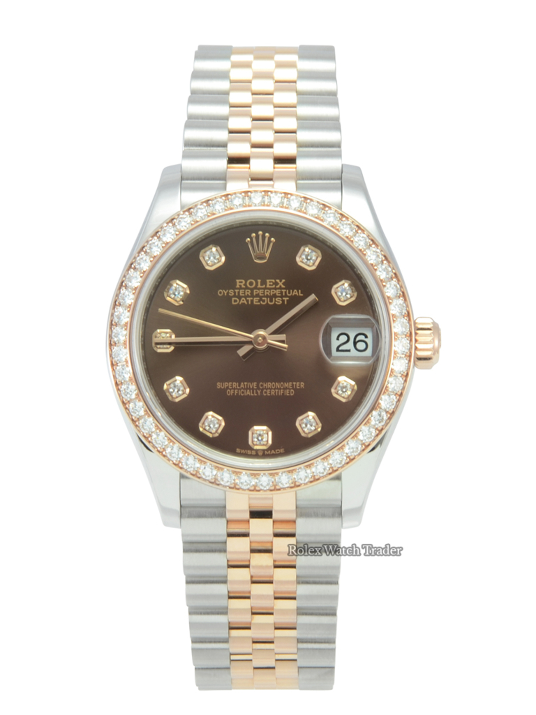 Rolex Datejust 31 278381RBR Factory Gem Set Chocolate Dial For Sale Available Purchase Buy Online with Part Exchange or Direct Sale Manchester North West England UK Great Britain Buy Today Free Next Day Delivery Warranty Luxury Watch Watches