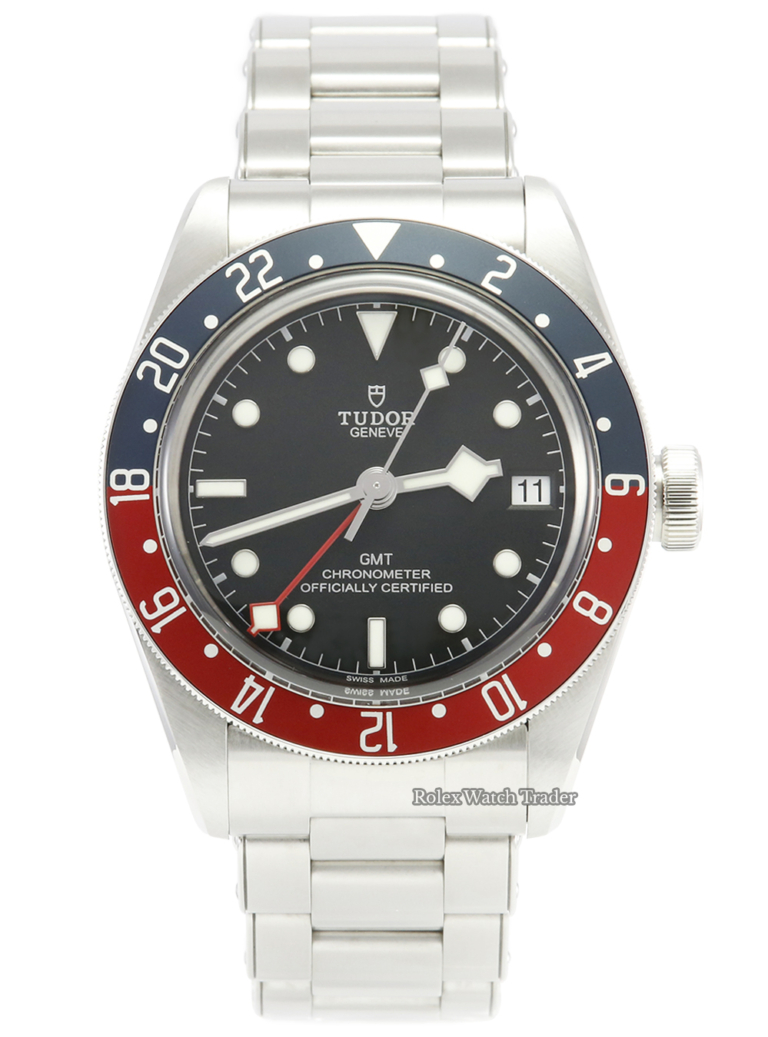 """Tudor Heritage Black Bay GMT 79830RB """"Pepsi"""" 2020 Stainless Steel Brushed Finish Men's Pre-Owned Second Hand Used Very Good Condition For Sale Available Purchase Buy Online with Part Exchange or Direct Sale Manchester North West England UK Great Britain Buy Today Free Next Day Delivery Warranty Luxury Watch Watches"""