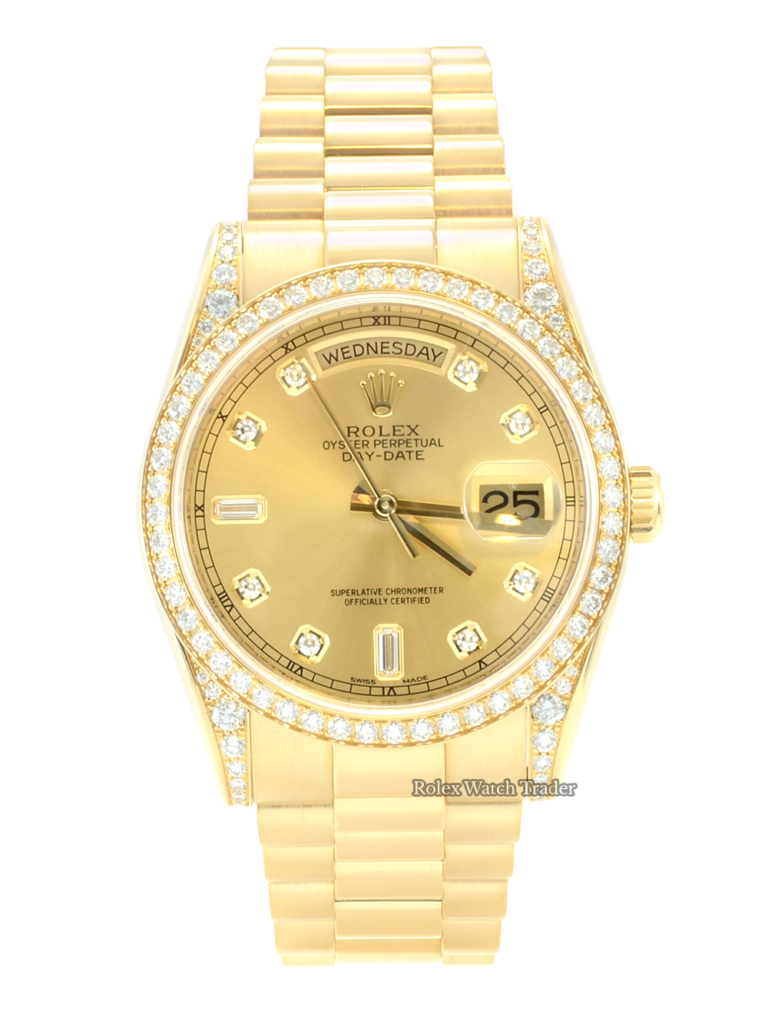 Rolex Day-Date 118388 36mm Yellow Gold Factory Gem Set Diamond Bezel Shoulders and Diamond Dot / Baguette Dial For Sale Available Purchase Buy Online with Part Exchange or Direct Sale Manchester North West England UK Great Britain Buy Today Free Next Day Delivery Warranty Luxury Watch Watches