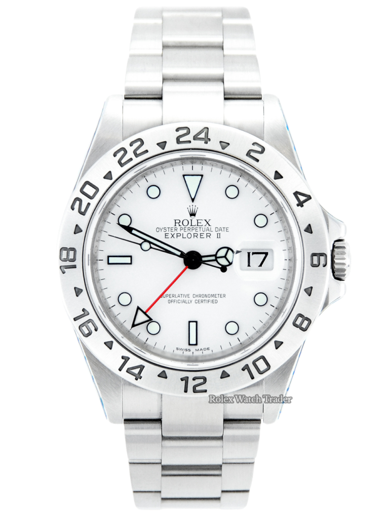 """Rolex Explorer II 16570 Rehaut """"Polar"""" Dial with Rolex Service For Sale Available Purchase Buy Online with Part Exchange or Direct Sale Manchester North West England UK Great Britain Buy Today Free Next Day Delivery Warranty Luxury Watch Watches"""
