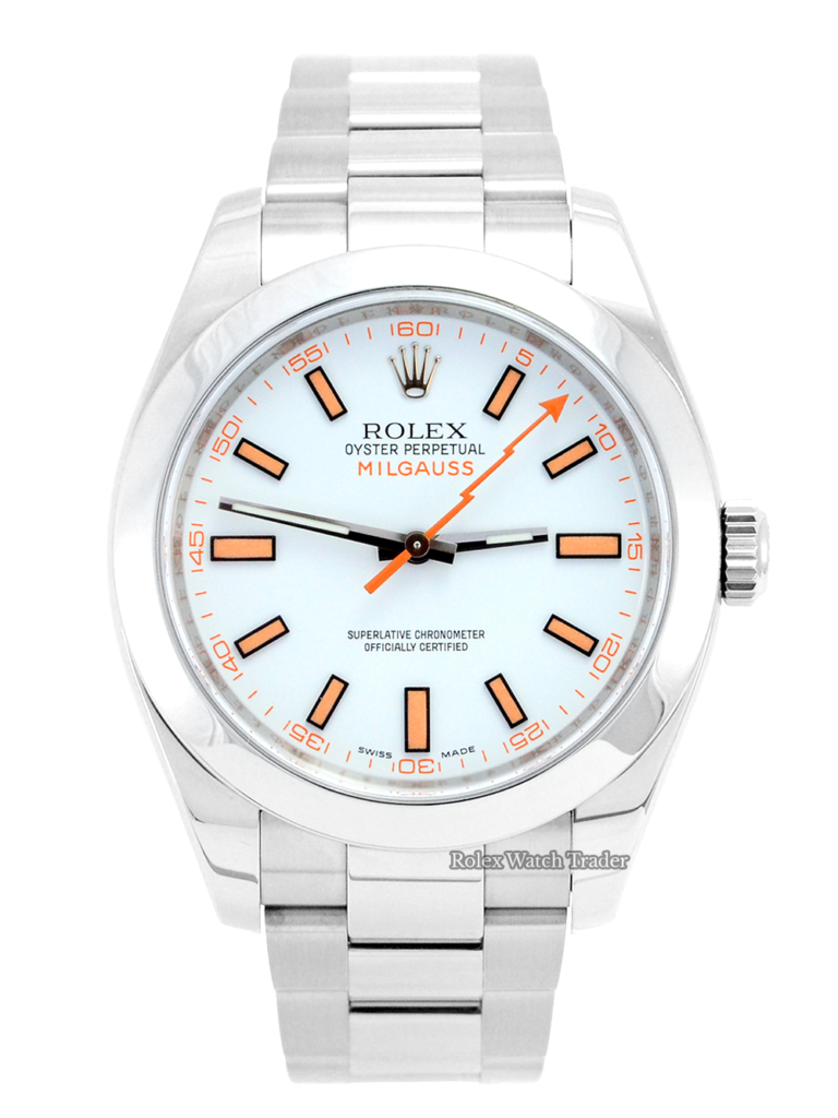 Rolex Milgauss 116400 Rare White Dial Discontinued For Sale Available Purchase Buy Online with Part Exchange or Direct Sale Manchester North West England UK Great Britain Buy Today Free Next Day Delivery Warranty Luxury Watch Watches