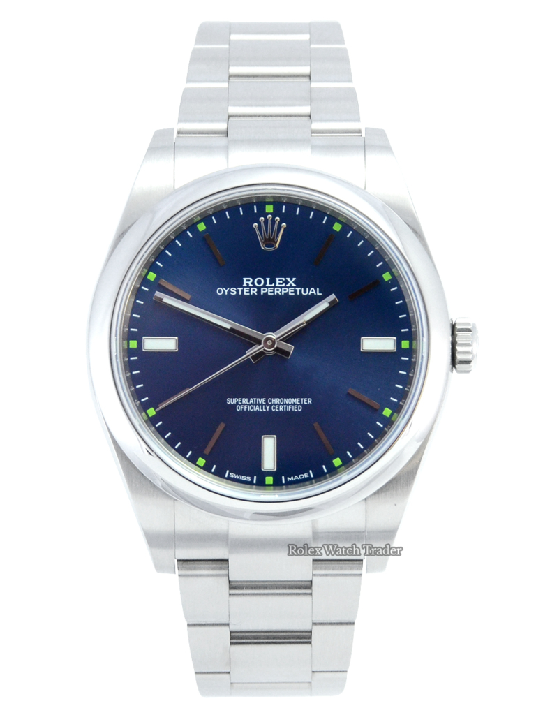 Rolex Oyster Perpetual 114300 39mm stunning Blue Dial For Sale Available Purchase Buy Online with Part Exchange or Direct Sale Manchester North West England UK Great Britain Buy Today Free Next Day Delivery Warranty Luxury Watch Watches
