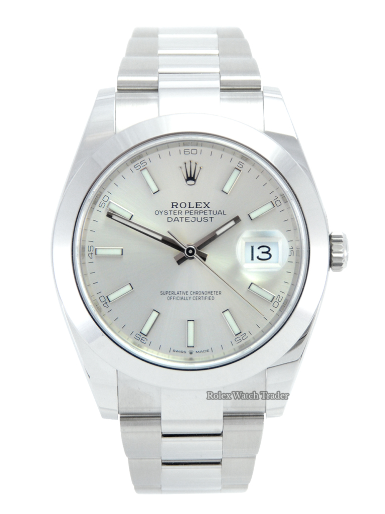 Rolex Datejust 126300 Late 2020 41mm Unworn Silver Baton U.K For Sale Available Purchase Buy Online with Part Exchange or Direct Sale Manchester North West England UK Great Britain Buy Today Free Next Day Delivery Warranty Luxury Watch Watches