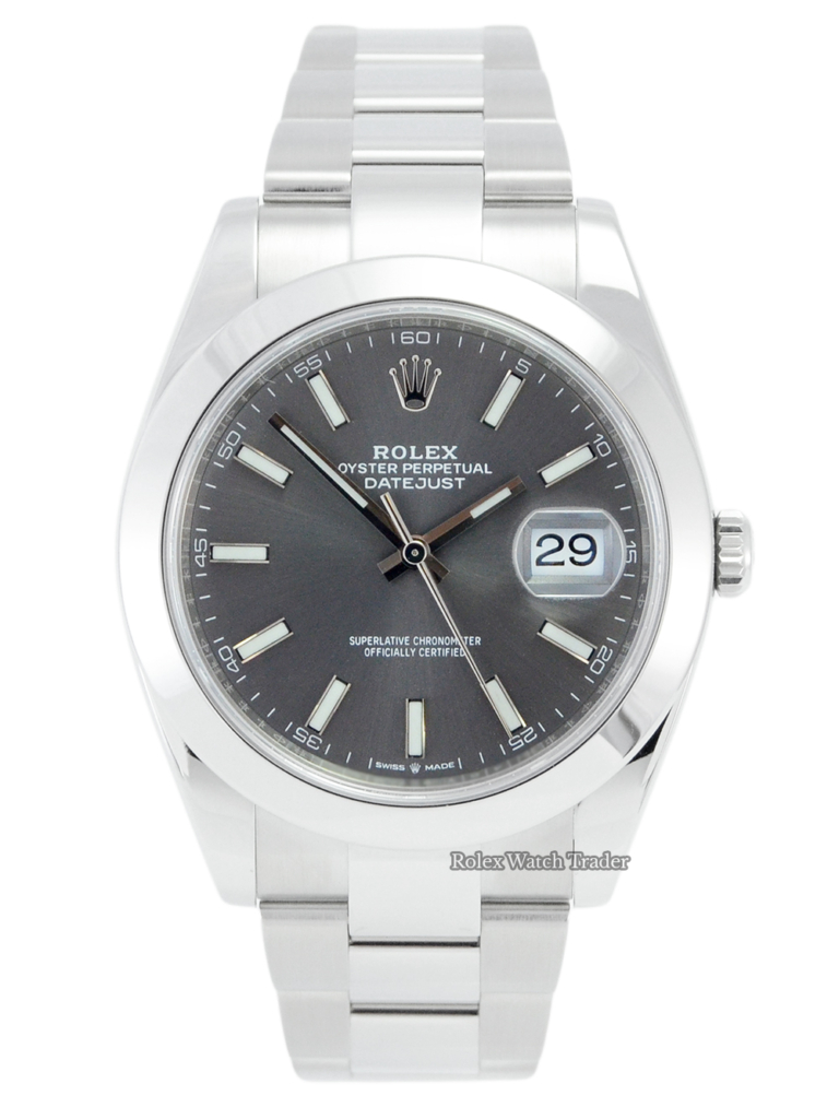 Rolex Datejust 126300 41mm Rhodium Baton 2021 For Sale Available Purchase Buy Online with Part Exchange or Direct Sale Manchester North West England UK Great Britain Buy Today Free Next Day Delivery Warranty Luxury Watch Watches