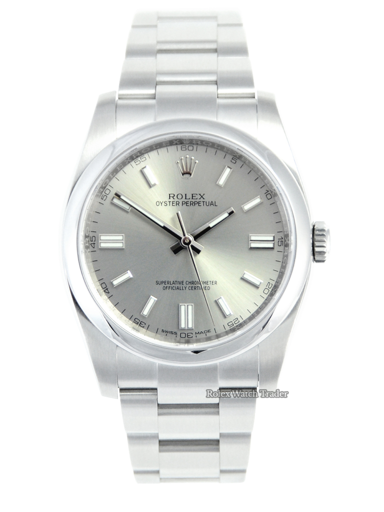 Rolex Oyster Perpetual 116000 Silver Baton Dial For Sale Available Purchase Buy Online with Part Exchange or Direct Sale Manchester North West England UK Great Britain Buy Today Free Next Day Delivery Warranty Luxury Watch Watches