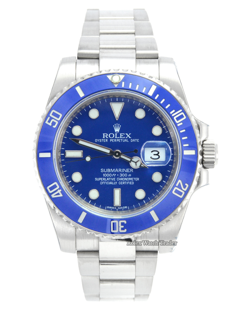 """Rolex Submariner Date 116619LB """"Smurf"""" serviced by Rolex For Sale Available Purchase Buy Online with Part Exchange or Direct Sale Manchester North West England UK Great Britain Buy Today Free Next Day Delivery Warranty Luxury Watch Watches"""
