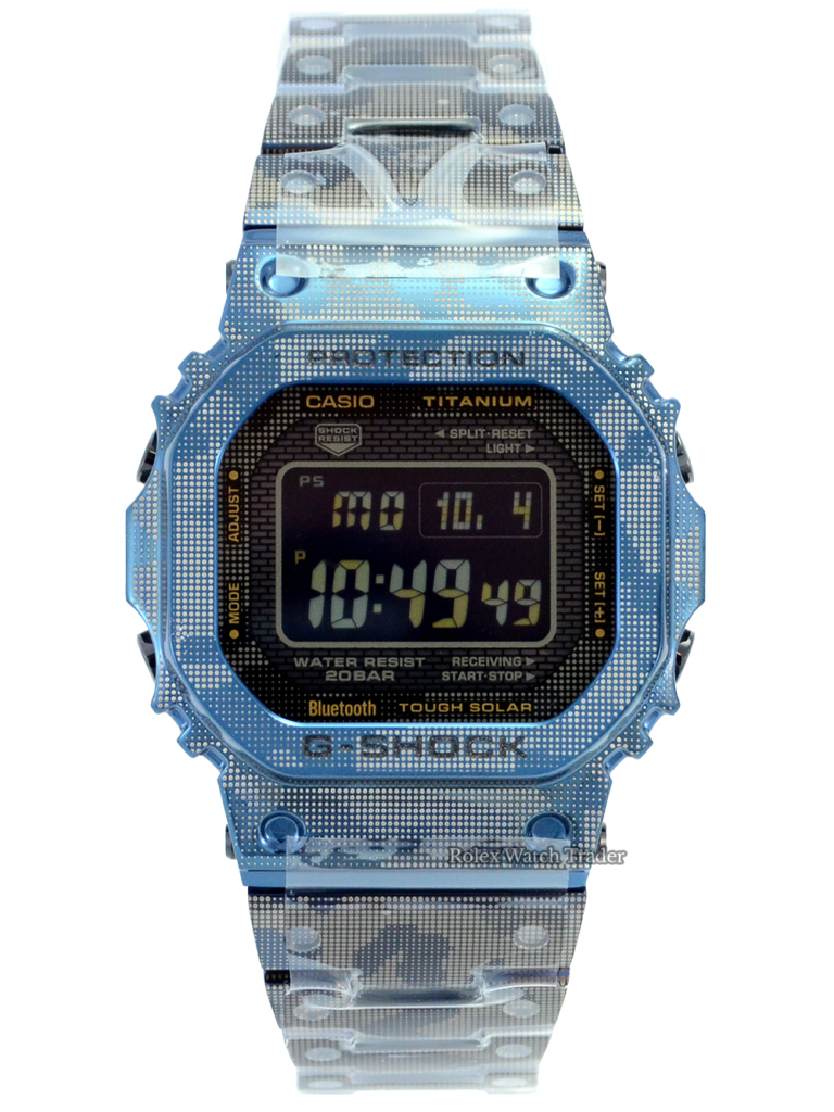 Casio G-Shock Titanium Blue Camo GMW-B5000TCF-2ER For Sale Available Purchase Buy Online with Part Exchange or Direct Sale Manchester North West England UK Great Britain Buy Today Free Next Day Delivery Warranty Luxury Watch Watches
